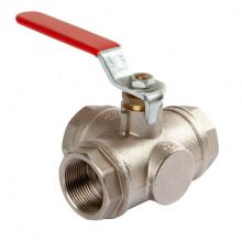 "1 1/4"" BSPT Brass 3 Way L Port Ball Valve F/F Ends"