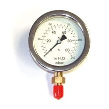 "4"" Dia Gas Pressure Gauge 0-250 mBar & H2O 3/8"" BSP Bottom Connection"