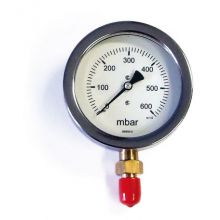"4"" Dia Gas Pressure Gauge 0-600 mBar 3/8"" BSP Bottom Connection"