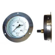 "4"" Front Flange Pressure Gauge 0-160PSI/Bar3/8""BSP Back Connection"