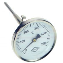 80mm Dial Flue Gas Thermometer - 300mm stem, 0-500°C
