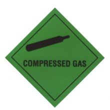 Compressed Gas Warning Diamond - GREEN