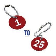 Valve Tag Set Numbers 1-25 Red/White/Red - 38mm Dia