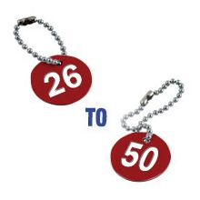 Valve Tag Set Numbers 26-50 Red/White/Red - 38mm Dia
