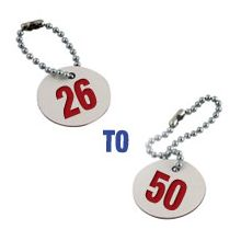 Valve Tag Set Numbers 26-50 White/Red/White - 38mm Dia