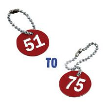 Valve Tag Set Numbers 51-75 Red/White/Red - 38mm D