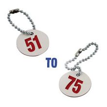 Valve Tag Set Numbers 51-75 White/Red/White - 38mm Dia