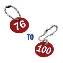 Valve Tag Set Numbers 76-100 Red/White/Red - 38mm Dia