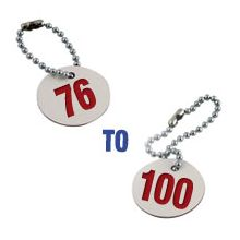 Valve Tag Set Numbers 76-100 White/Red/White - 38mm Dia